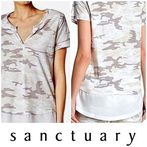 Sanctuary White Camo Short Sleeve Top NWT Size XS